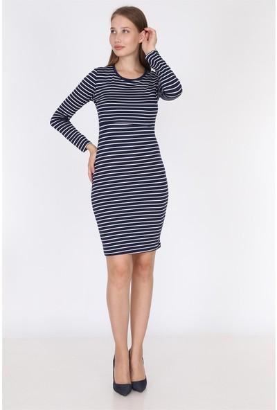 Luvmabelly 5751 - Lacivert Çizgili Uzun Kollu Emzirme Elbise