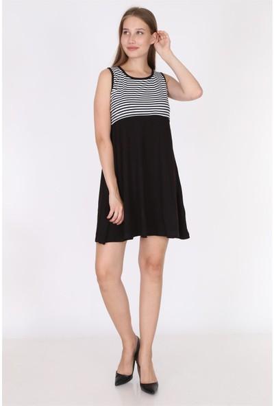 Luvmabelly 5800 - Üstü Siyah Çizgili Altı Siyah Kolsuz Emzirme Elbise