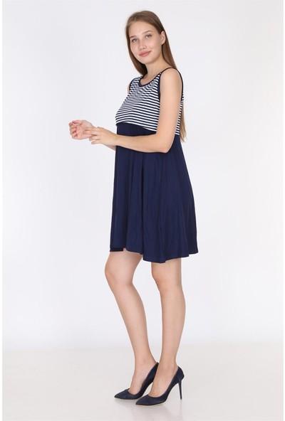 Luvmabelly 5801 - Üstü Lacivert Çizgili Altı Siyah Kolsuz Emzirme Elbise