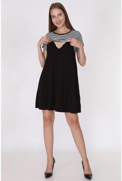 Luvmabelly 5850 - Üstü Siyah Çizgili Altı Siyah Yarım Kollu Emzirme Elbise