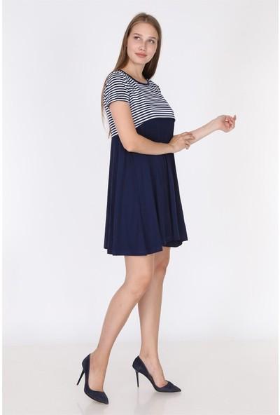 Luvmabelly 5851 - Üstü Lacivert Çizgili Altı Siyah Yarım Kollu Emzirme Elbise