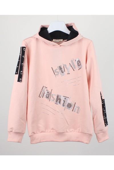 Minipomes Kız Çocuk Pullu Kapişonlu Sweatshirt
