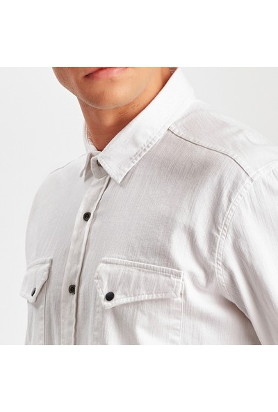 Manche Beyaz Gabardin Çift Cep Kapaklı Gömlek ME19W111627