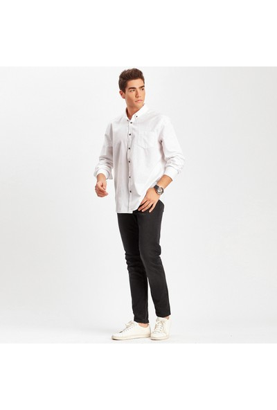 Manche Beyaz Tek Cep Poplin Gömlek ME19W112199