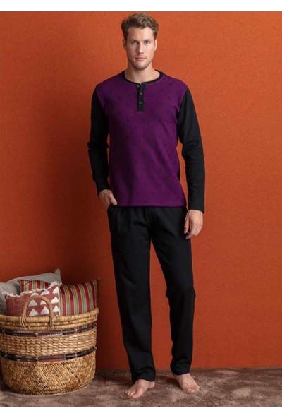 Eros Ese24192 O Yaka Önden Düğmeli Erkek Pijama Takımı