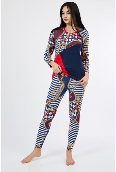 Asfa Moda Uzun Kol Renkli Altı Desenli Tayt Kadın Pijama Takımı 9543