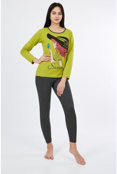 Asfa Moda Uzun Kol Sweety Altı Tayt Kadın Pijama Takımı 9673