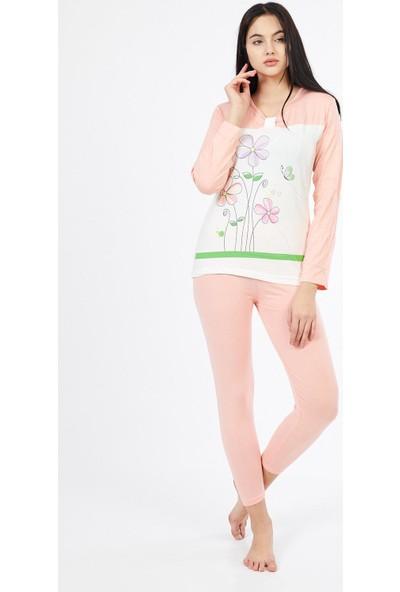 Asfa Moda Uzun Kol Çiçekli Altı Pudra Tayt Kadın Pijama Takımı 9803