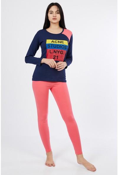 Asfa Moda Uzun Kol Renkli Altı Tayt Kadın Pijama Takımı 9861
