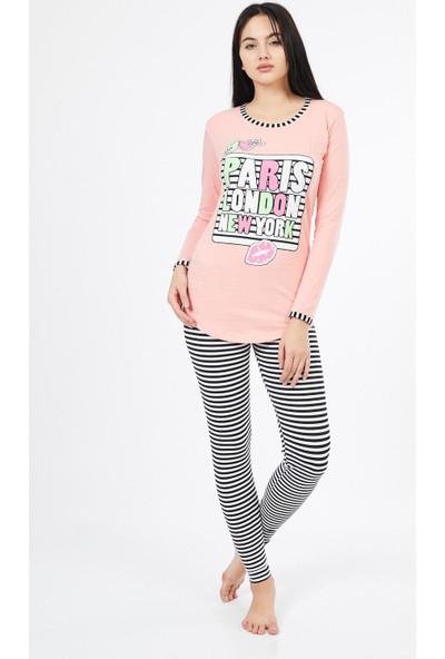 Asfa Moda Uzun Kol London Altı Tayt Kadın Pijama Takımı 9865