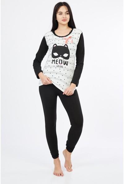 Asfa Moda Uzun Kol Cate Alt Tayt Kadın Pijama Takımı 9885