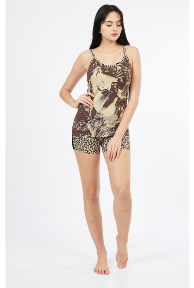 Asfa Moda Askılı Desenli Altı Şortlu Kadın Pijama Takımı 685