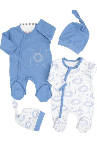 Minisse Aslanlı Mavi 4 Parça Erkek Bebek Tulum Set