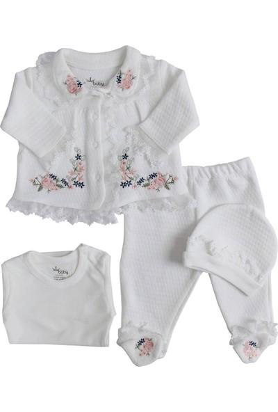 Eda Baby Dantelli Nakışlı Kız Bebek Takımı