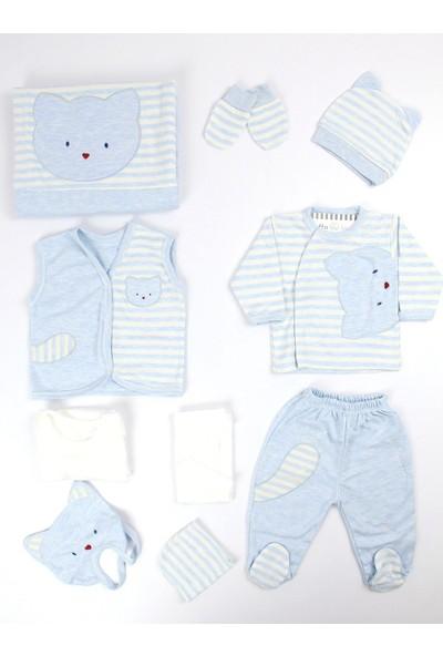 Gaye Bebe Kedili Erkek Bebek 10LU Hastane Çıkışı Mavi