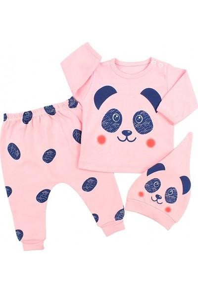 Hippıl Baby Pandalı Somon Kız Bebek 3'lü Takım