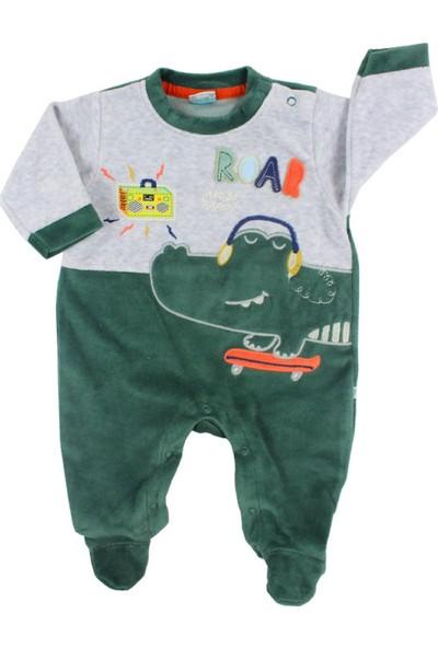 Mombi Timsahlı Yeşil Erkek Bebek Kadife Tulum