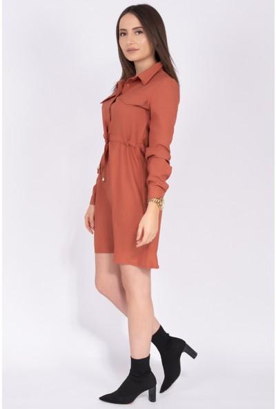 Sam Toni Cep Detaylı Tunik Elbise Kiremit