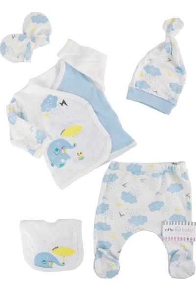 Mini Zeyn Bulutlu Erkek Bebek 5'li Hastane Çıkışı Açık Mavi