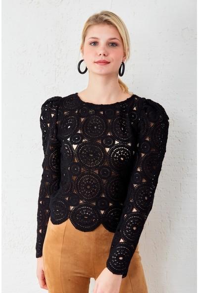 Freestar Dantel İşlemeli Uzun Kol Bluz