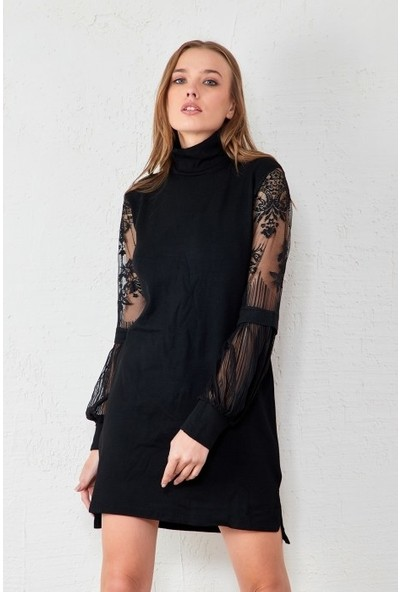 Freestar Balıkçı Yaka Tül Kollu Elbise
