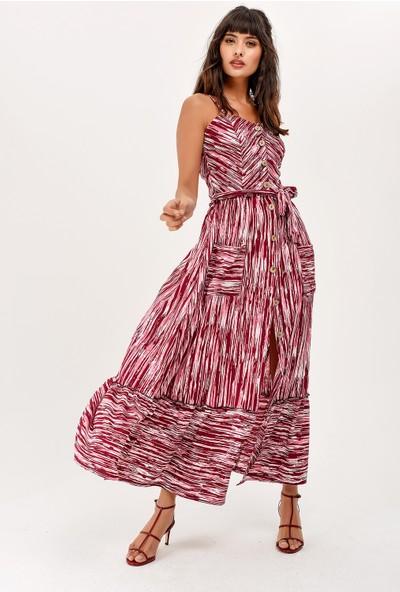 New Laviva Askılı Desenli Cepli Uzun Mürdüm Kadın Elbise