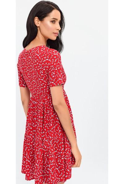 New Laviva Çıtır Çiçek Desenli Kısa Kollu Diz Üzeri Kırmızı Kadın Elbise