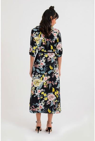 New Laviva Çiçek Desenli Uzun Boy Gömlek Elbise Siyah Kadın Elbise
