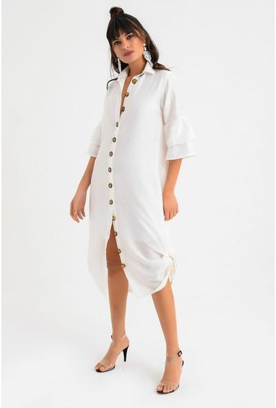 New Laviva Beyaz Kadın Elbise
