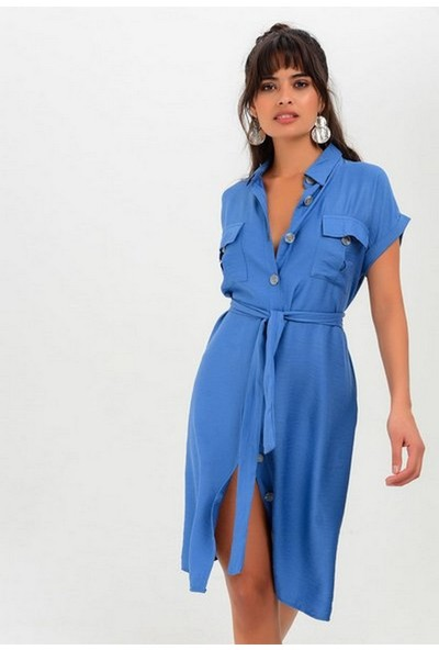 New Laviva Kısa Kollu Düğmeli Cepli İndigo Kadın Elbise