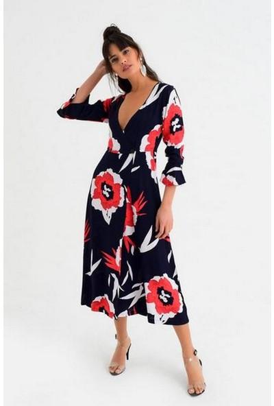 New Laviva İri Çiçek Desenli Uzun Kollu Lacivert Kadın Elbise