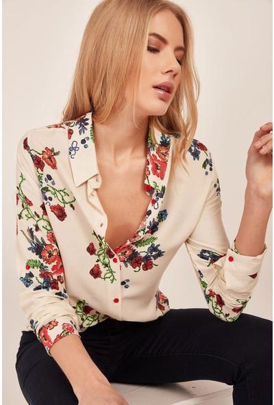 New Laviva Krem Kadın Gömlek