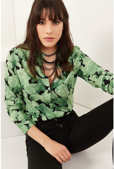 New Laviva Desenli Uzun Kollu Yeşil Kadın Gömlek