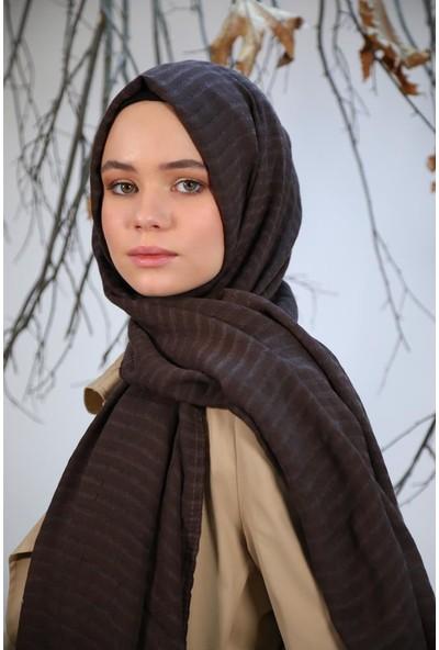 Felice Butik 11101 Şerit Dokuma Kahverengirengi Kadın Şal