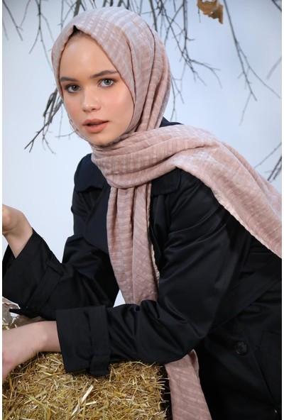 Felice Butik 11119 Şerit Dokuma Vizon Kadın Şal