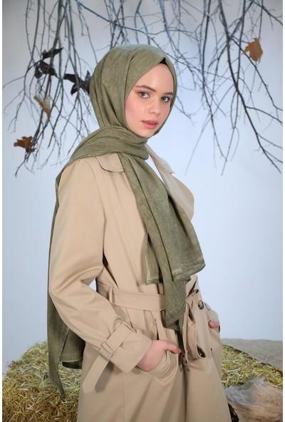 Felice Butik 11109 Taşlanmış Pamuk Kına Yeşili Kadın Şal