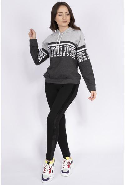 Sam Toni Chose Yazılı Kadın Sweatshirt Gri
