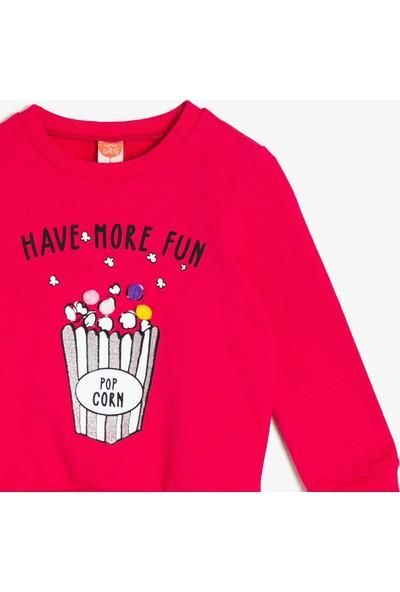 Koton Kız Bebek Yazılı Baskılı Sweatshirt