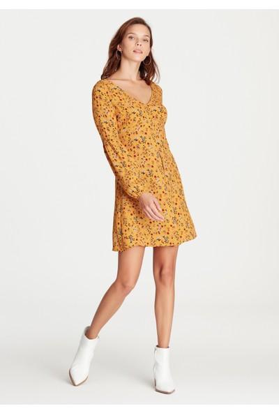 Mavi Kadın Baskılı Sarı Elbise