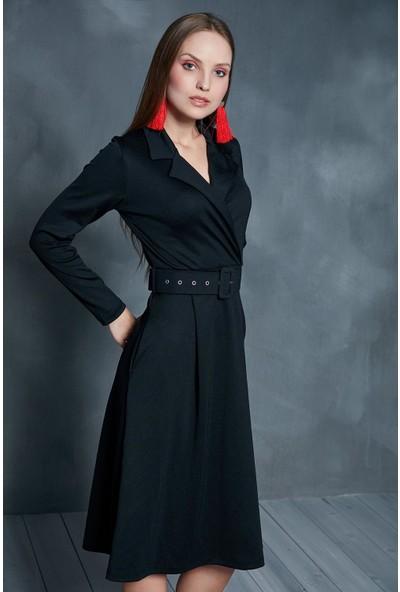 Morpile Beli Kemerli Kadın Elbise