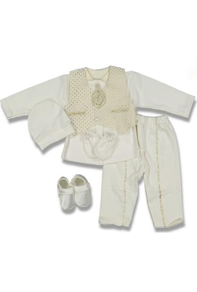 Enjoy Baby Fahroni Erkek Bebek Flatolu İki Cep Krem Mevlüt Takım