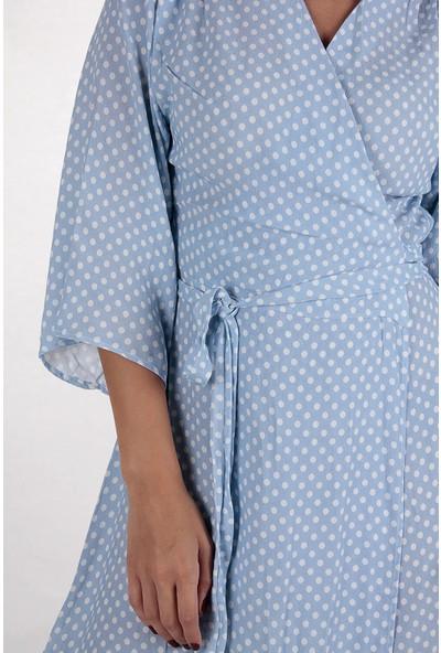 Butik Kafası Kadın Mavi Puantiyeli Bkke101 Kısa Kruvaze Elbise