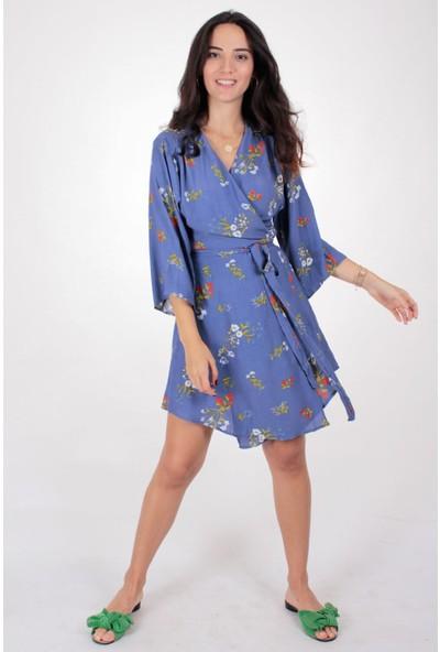 Butik Kafası Kadın Mavi Puantiyeli Bkke104 Kısa Kruvaze Elbise