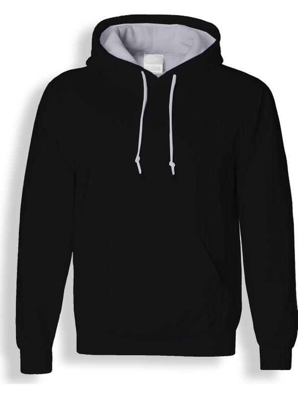 ACR Siyah Kapüşonlu Sweatshirt - Unisex Kalıp - Cepli Hoodie