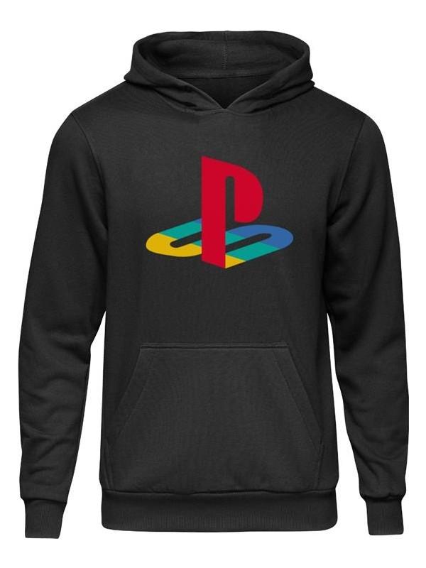 Fandomya Casual Playstation Old Logo Siyah Kapüşonlu Hoodie