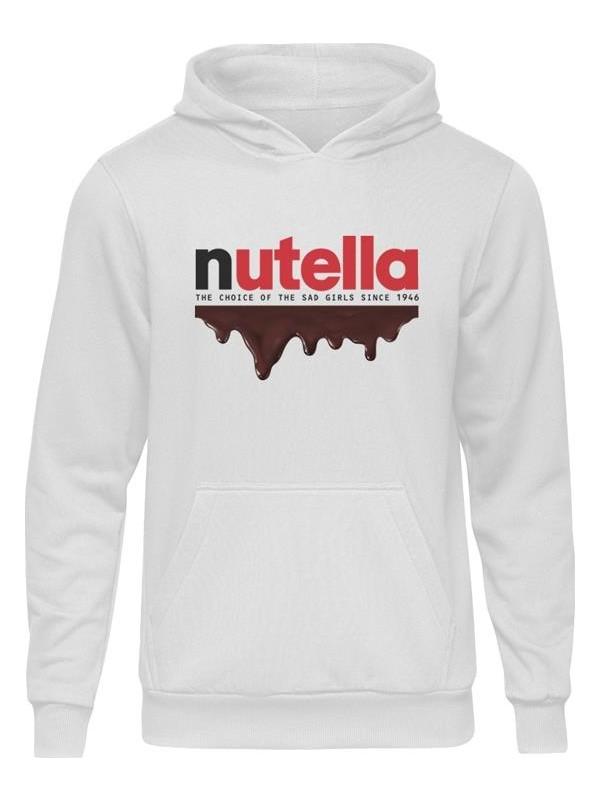 Casual Nutella Beyaz Kapüşonlu Hoodie