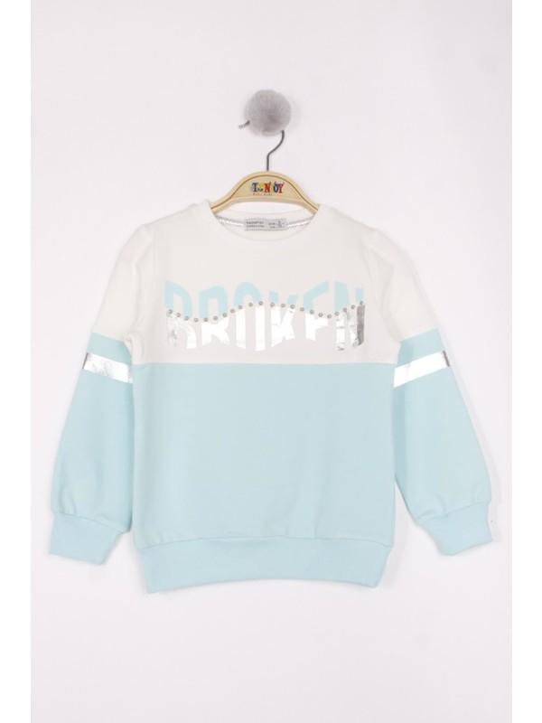 Toontoy Kız Çocuk Broken Varak Baskılı Sweatshirt