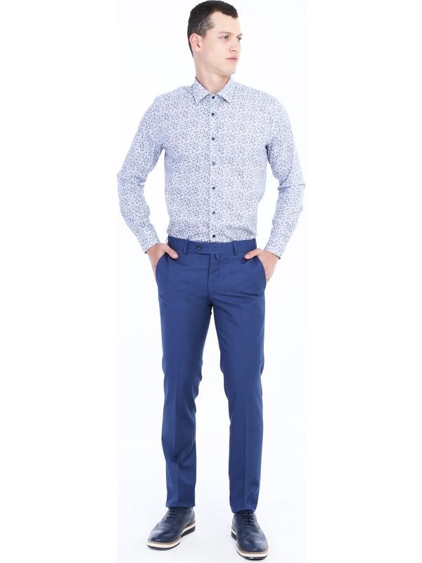 Kiğılı Slim Fit Desenli Klasik Pantolon