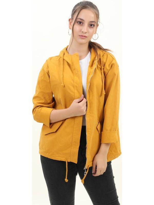 Pua Fashion Kadın Ceket Hardal Arkası Kanat Baskılı Kapşonlu Ceket