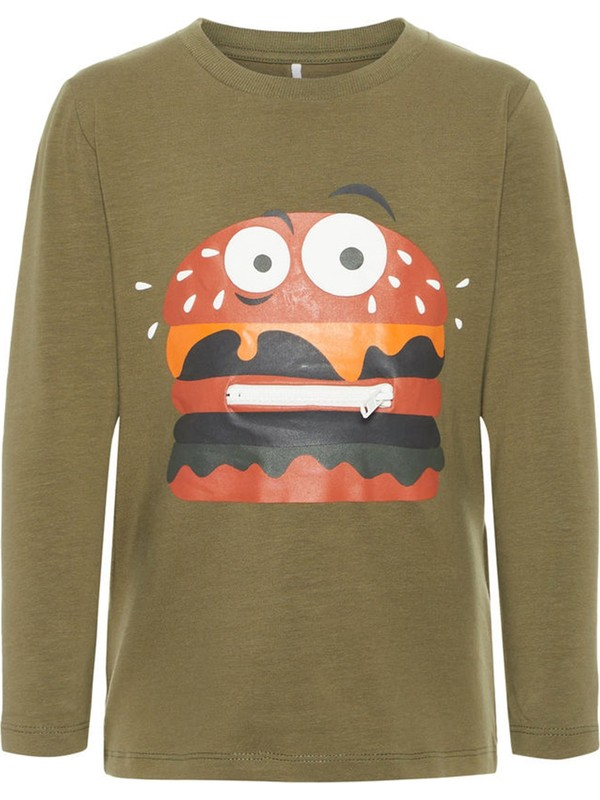Name İt Erkek Çocuk Hamburger Modelli Uzun Kol Sweatshirt